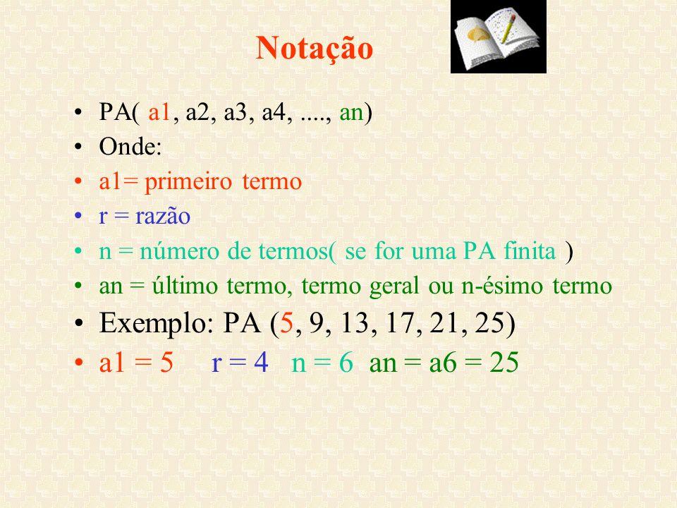 Notação PA( a1, a2, a3, a4, ...., an) Onde: a1= primeiro termo. r = razão. n = número de termos( se for uma PA finita )