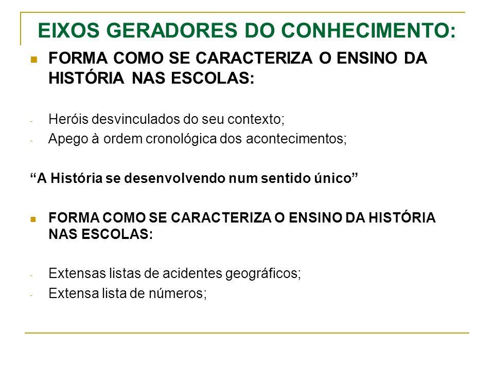 EIXOS GERADORES DO CONHECIMENTO: