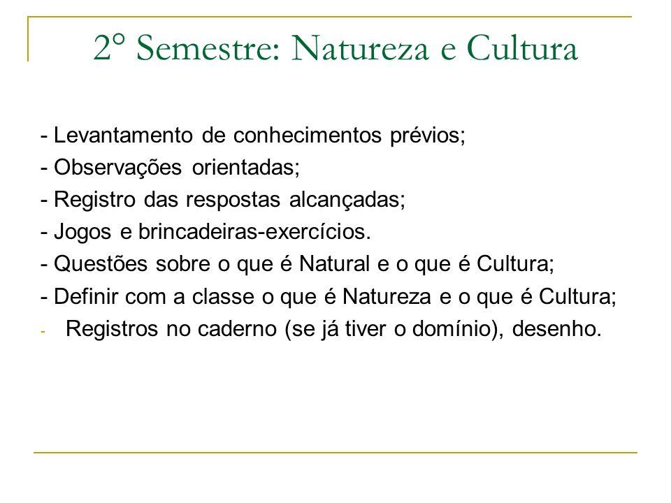2° Semestre: Natureza e Cultura