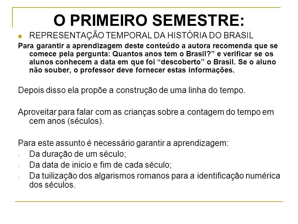 O PRIMEIRO SEMESTRE: REPRESENTAÇÃO TEMPORAL DA HISTÓRIA DO BRASIL