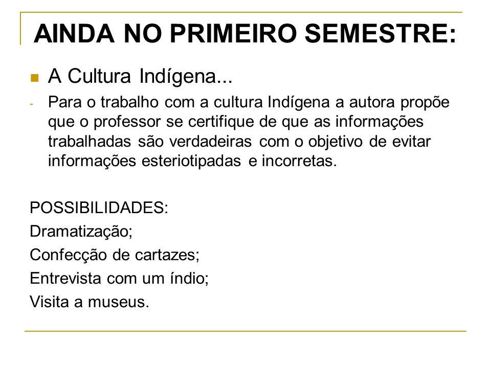 AINDA NO PRIMEIRO SEMESTRE: