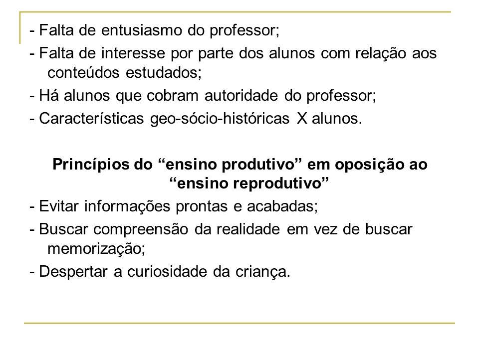Princípios do ensino produtivo em oposição ao ensino reprodutivo