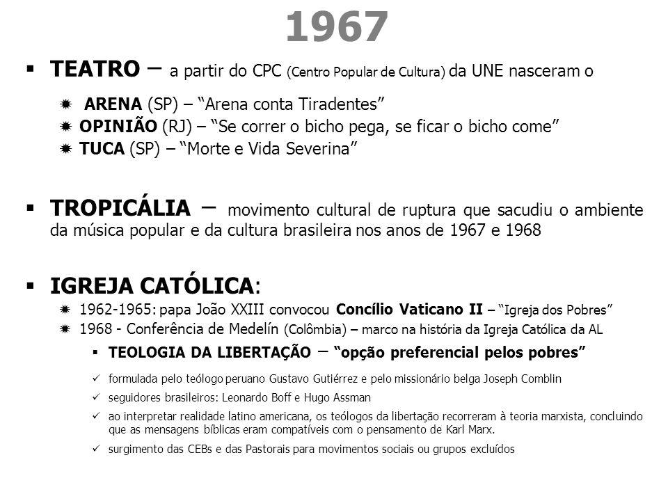 1967 TEATRO – a partir do CPC (Centro Popular de Cultura) da UNE nasceram o. ARENA (SP) – Arena conta Tiradentes