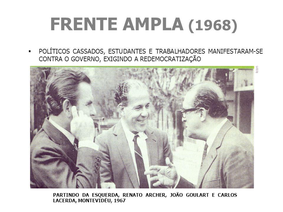 FRENTE AMPLA (1968) POLÍTICOS CASSADOS, ESTUDANTES E TRABALHADORES MANIFESTARAM-SE CONTRA O GOVERNO, EXIGINDO A REDEMOCRATIZAÇÃO.