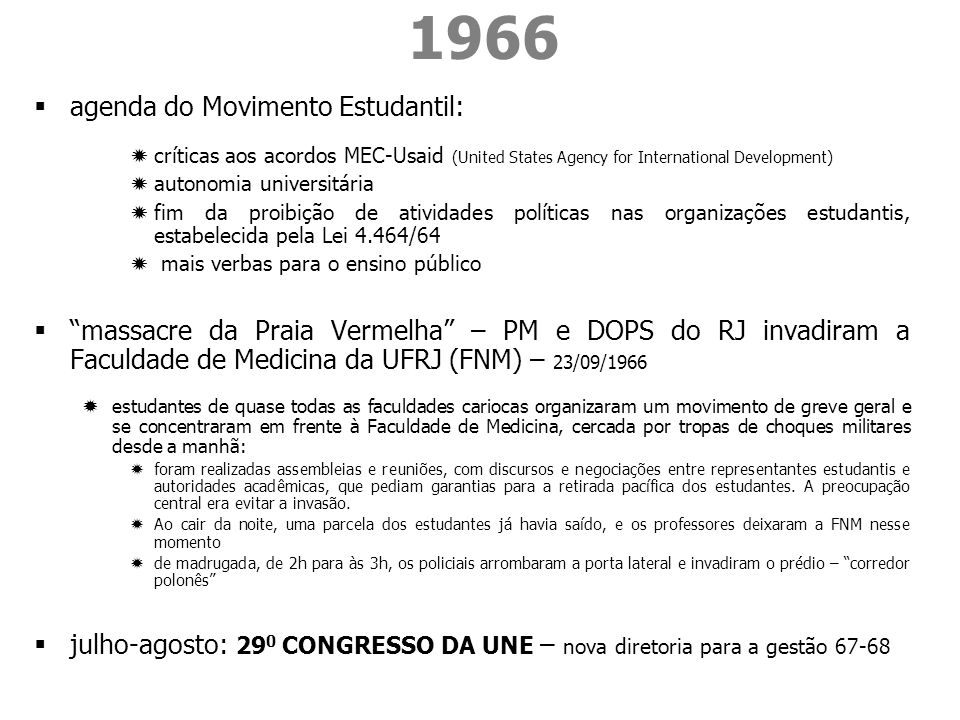 1966 agenda do Movimento Estudantil: