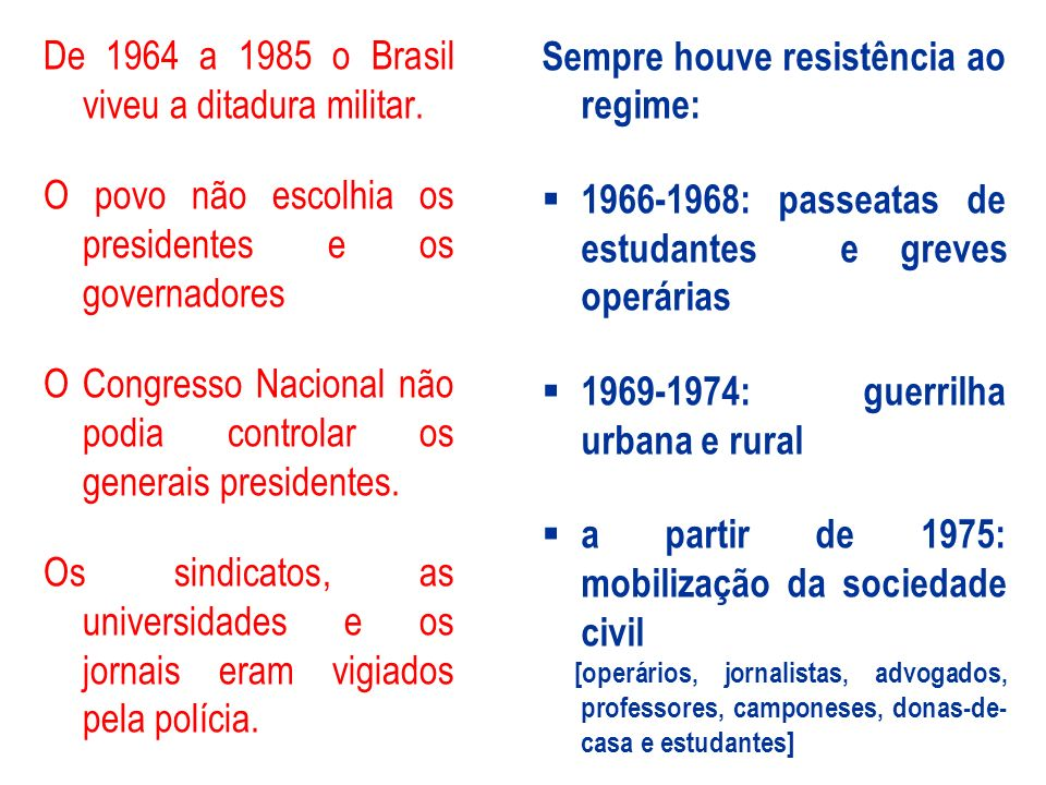 De 1964 a 1985 o Brasil viveu a ditadura militar.