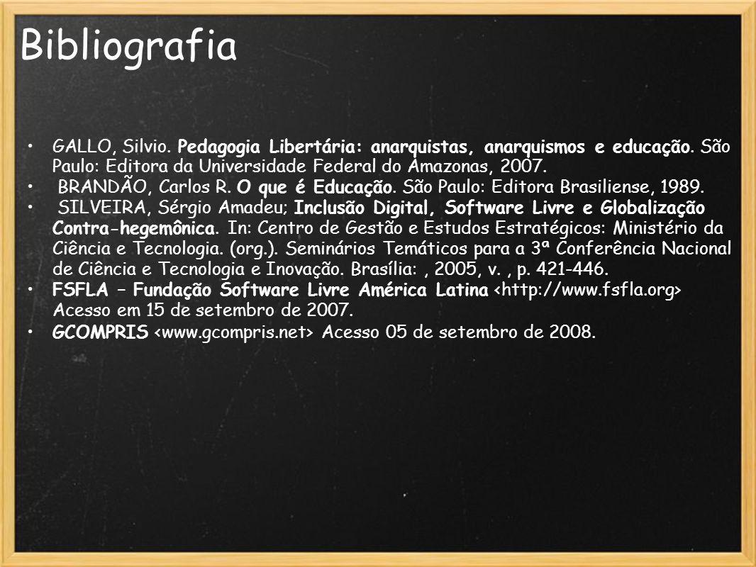 Bibliografia GALLO, Silvio. Pedagogia Libertária: anarquistas, anarquismos e educação. São Paulo: Editora da Universidade Federal do Amazonas, 2007.