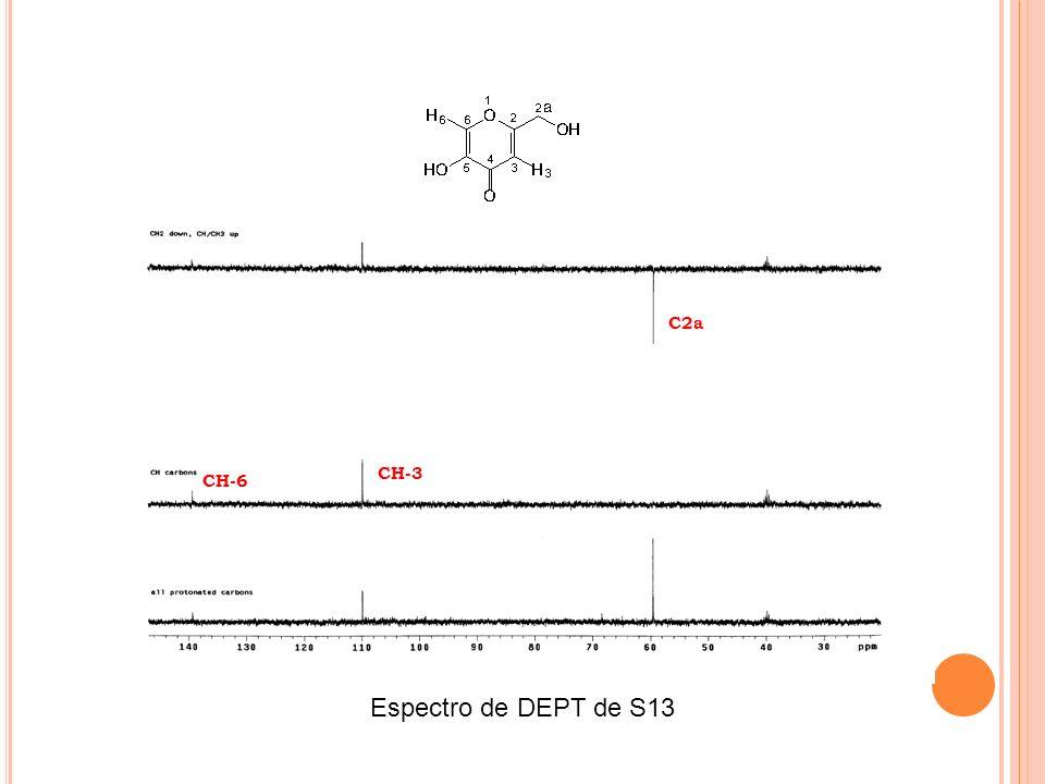 C2a CH-3 CH-6 Espectro de DEPT de S13