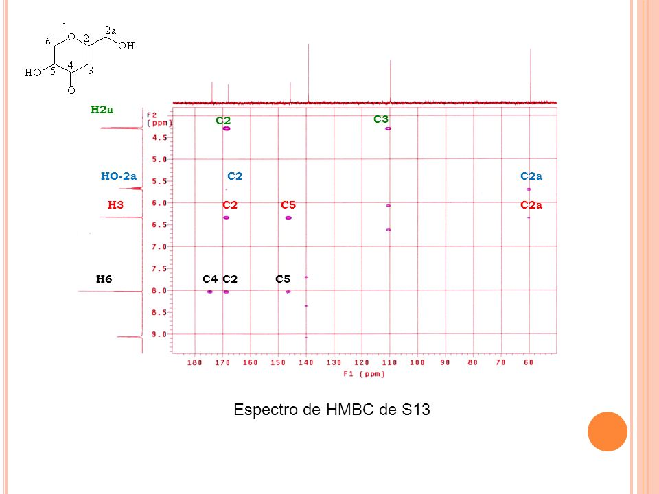 H2a C2 C3 HO-2a C2a H3 C5 H6 C4 Espectro de HMBC de S13