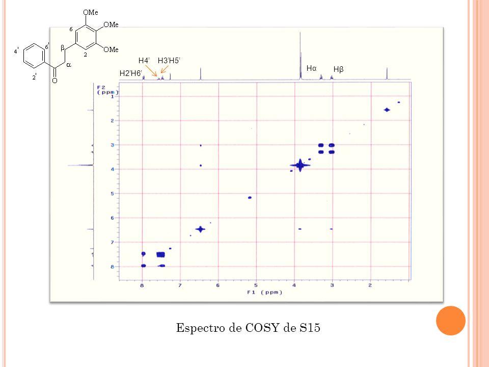 H4' H3'H5' Hα Hβ H2'H6' Espectro de COSY de S15