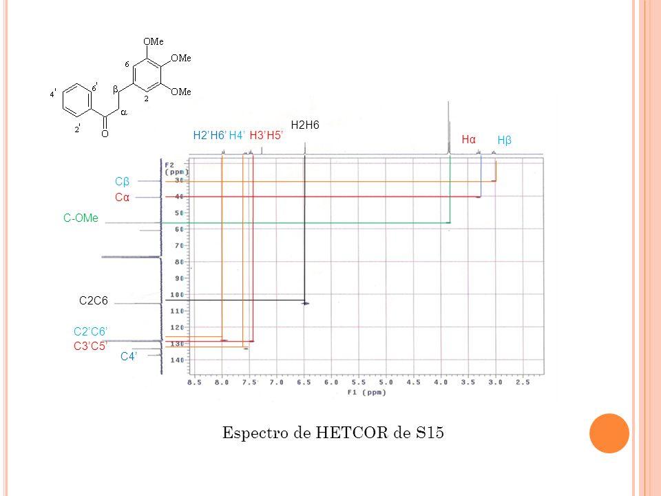 Espectro de HETCOR de S15 H2H6 H2'H6' H4' H3'H5' Hα Hβ Cβ Cα C-OMe