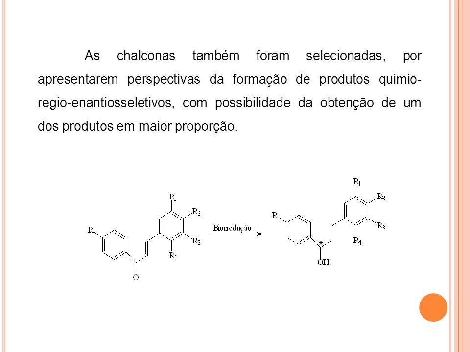 As chalconas também foram selecionadas, por apresentarem perspectivas da formação de produtos quimio-regio-enantiosseletivos, com possibilidade da obtenção de um dos produtos em maior proporção.