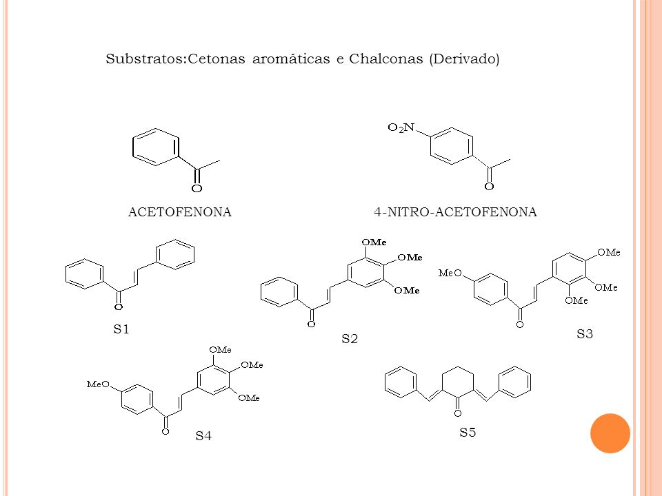 Substratos:Cetonas aromáticas e Chalconas (Derivado)