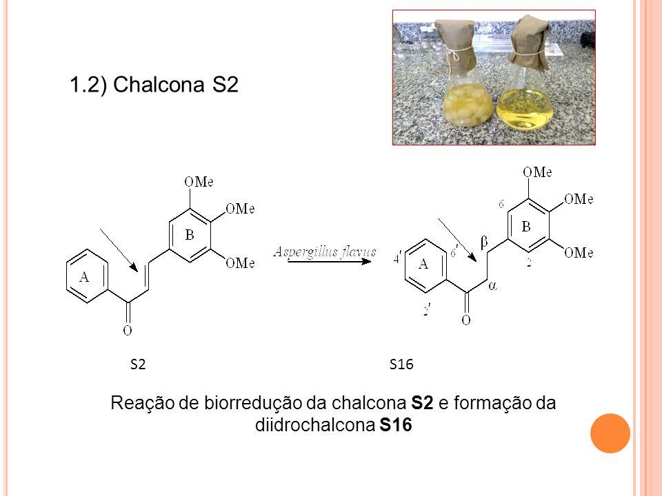 Reação de biorredução da chalcona S2 e formação da diidrochalcona S16