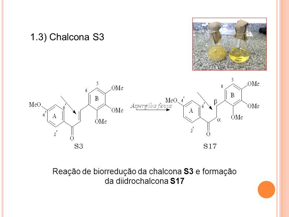 Reação de biorredução da chalcona S3 e formação da diidrochalcona S17