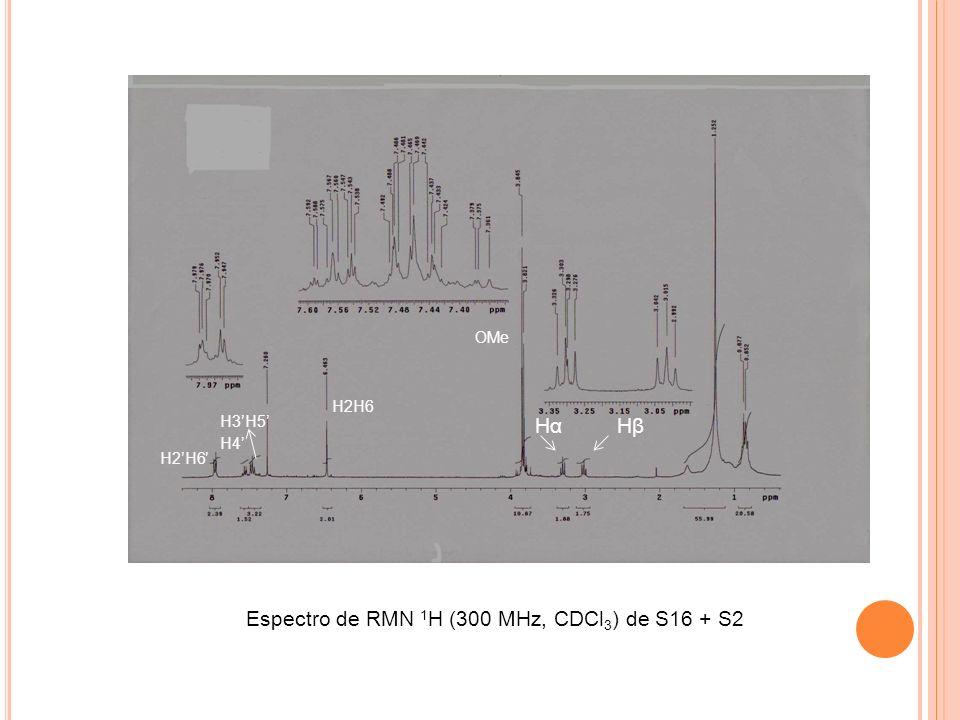 Espectro de RMN 1H (300 MHz, CDCl3) de S16 + S2