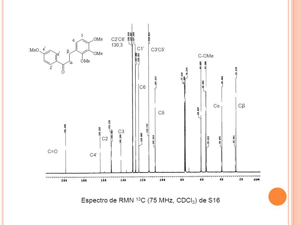 Espectro de RMN 13C (75 MHz, CDCl3) de S16