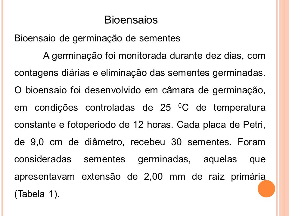 Bioensaios Bioensaio de germinação de sementes