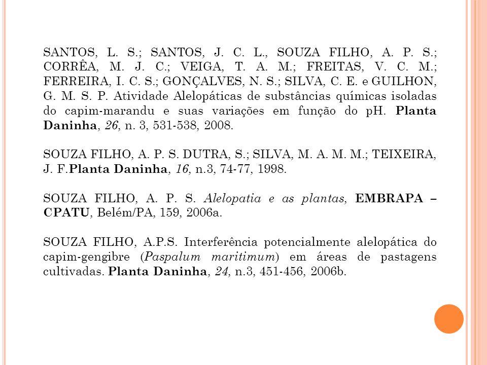 SANTOS, L. S.; SANTOS, J. C. L., SOUZA FILHO, A. P. S.; CORRÊA, M. J. C.; VEIGA, T. A. M.; FREITAS, V. C. M.; FERREIRA, I. C. S.; GONÇALVES, N. S.; SILVA, C. E. e GUILHON, G. M. S. P. Atividade Alelopáticas de substâncias químicas isoladas do capim-marandu e suas variações em função do pH. Planta Daninha, 26, n. 3, 531-538, 2008.