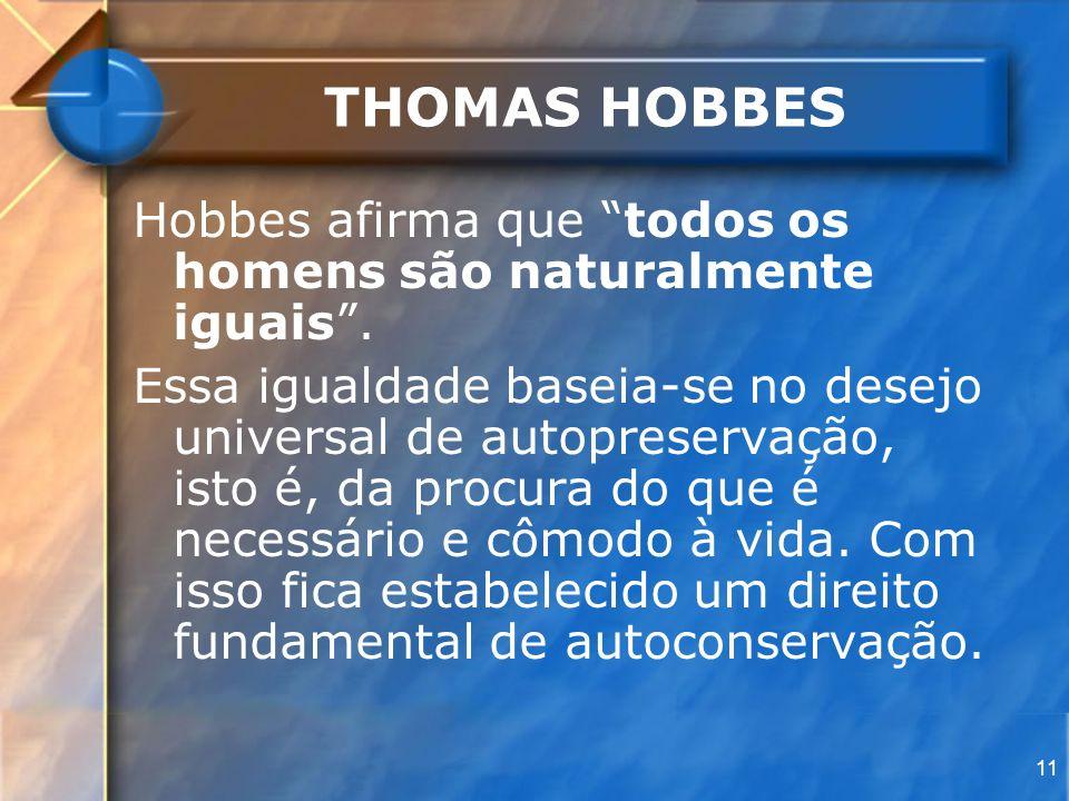 THOMAS HOBBES Hobbes afirma que todos os homens são naturalmente iguais .