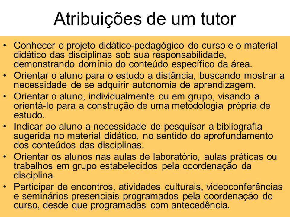 Atribuições de um tutor