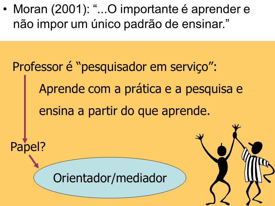 Moran (2001): ...O importante é aprender e não impor um único padrão de ensinar.
