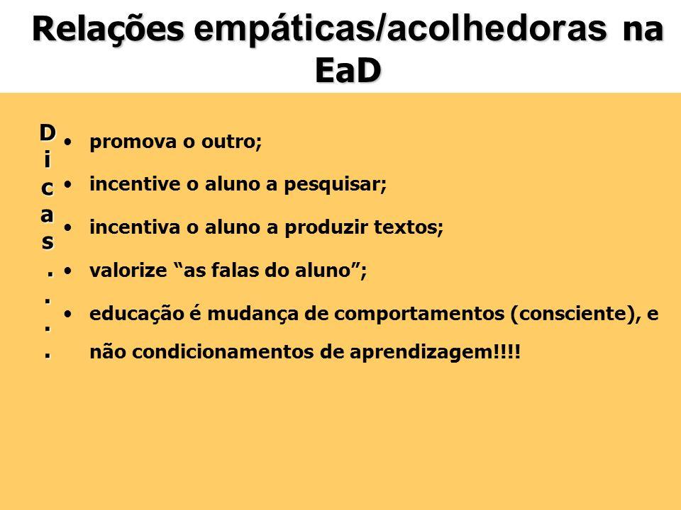 Relações empáticas/acolhedoras na EaD