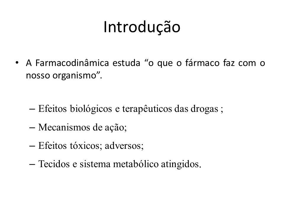 Introdução A Farmacodinâmica estuda o que o fármaco faz com o nosso organismo . Efeitos biológicos e terapêuticos das drogas ;