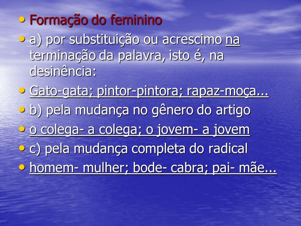 Formação do feminino a) por substituição ou acrescimo na terminação da palavra, isto é, na desinência: