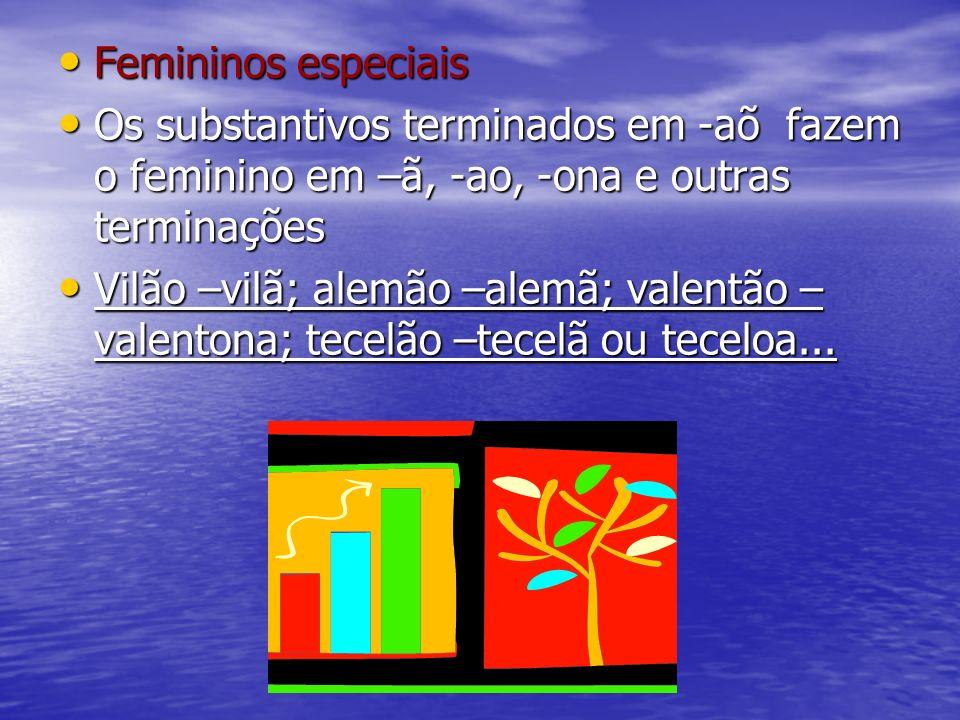 Femininos especiaisOs substantivos terminados em -aõ fazem o feminino em –ã, -ao, -ona e outras terminações.