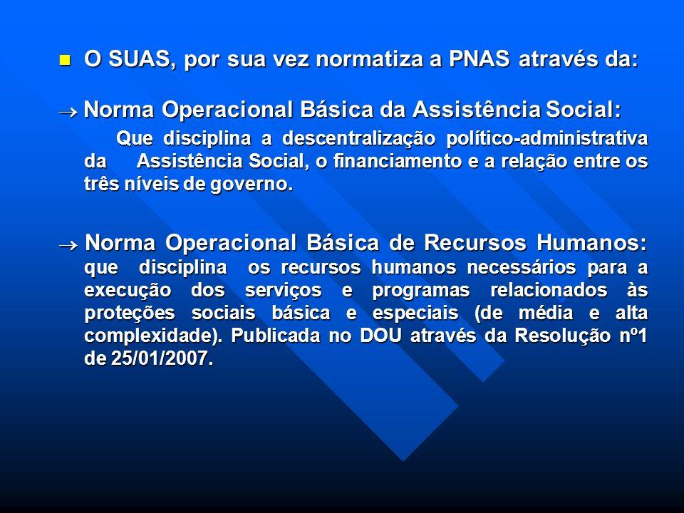 O SUAS, por sua vez normatiza a PNAS através da:
