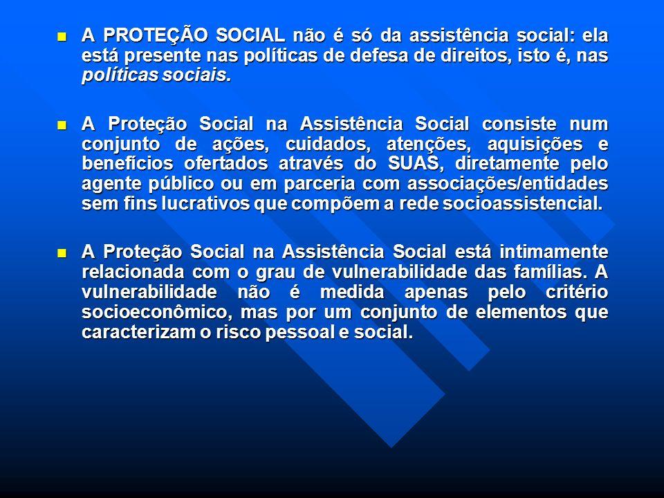 A PROTEÇÃO SOCIAL não é só da assistência social: ela está presente nas políticas de defesa de direitos, isto é, nas políticas sociais.