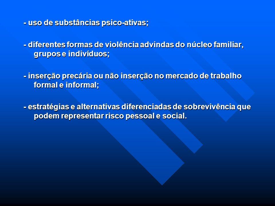 - uso de substâncias psico-ativas;