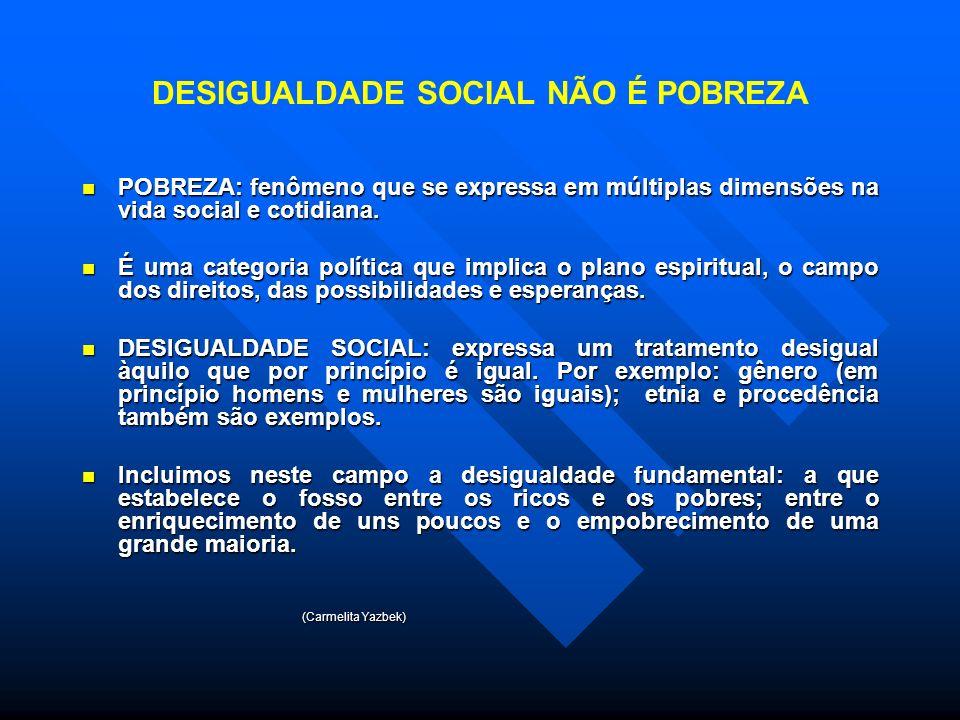 DESIGUALDADE SOCIAL NÃO É POBREZA