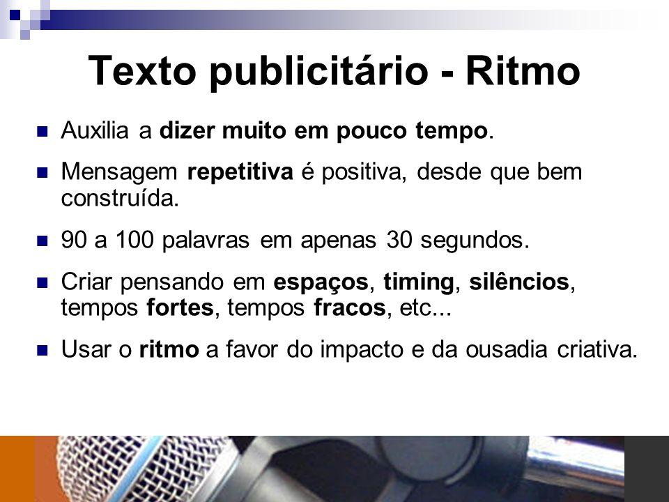 Texto publicitário - Ritmo