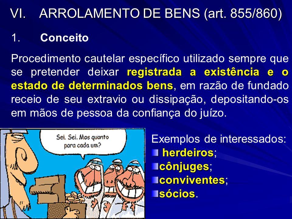 VI. ARROLAMENTO DE BENS (art. 855/860)