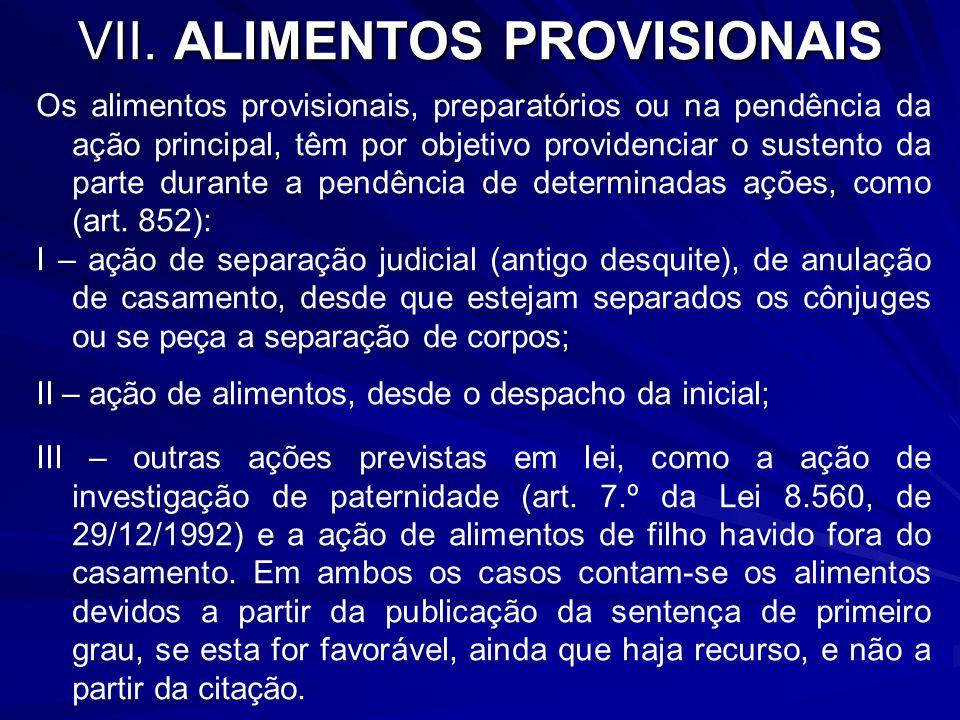 VII. ALIMENTOS PROVISIONAIS
