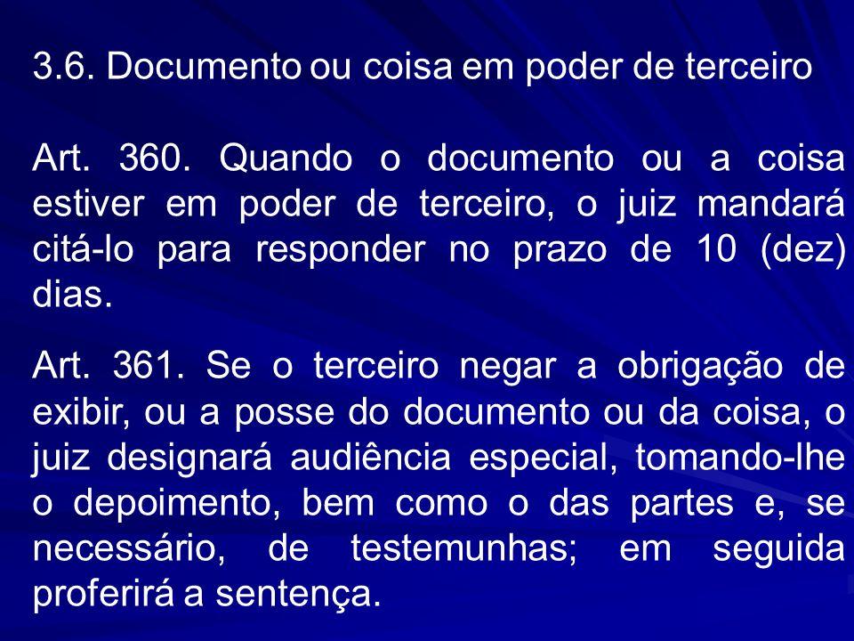 3.6. Documento ou coisa em poder de terceiro