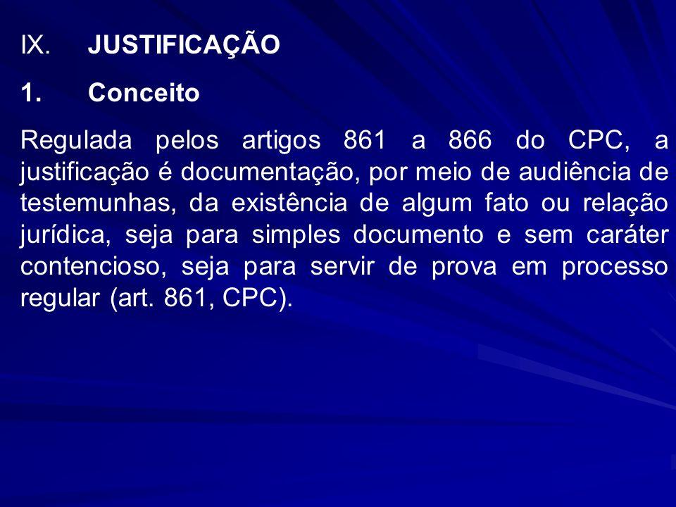 IX. JUSTIFICAÇÃO 1. Conceito.
