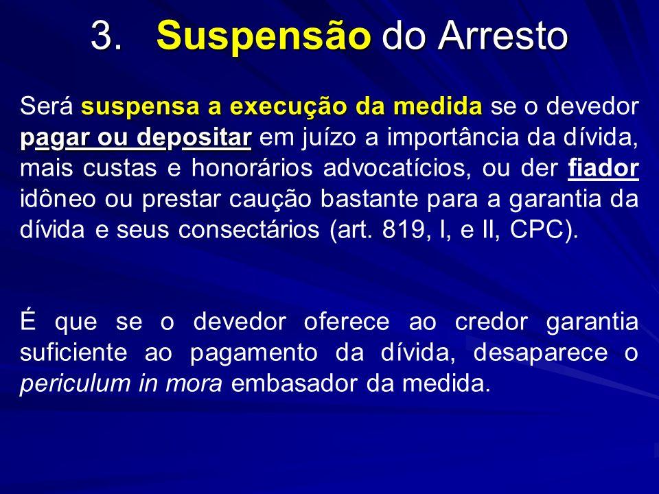 3. Suspensão do Arresto