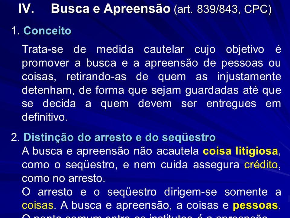 Busca e Apreensão (art. 839/843, CPC)