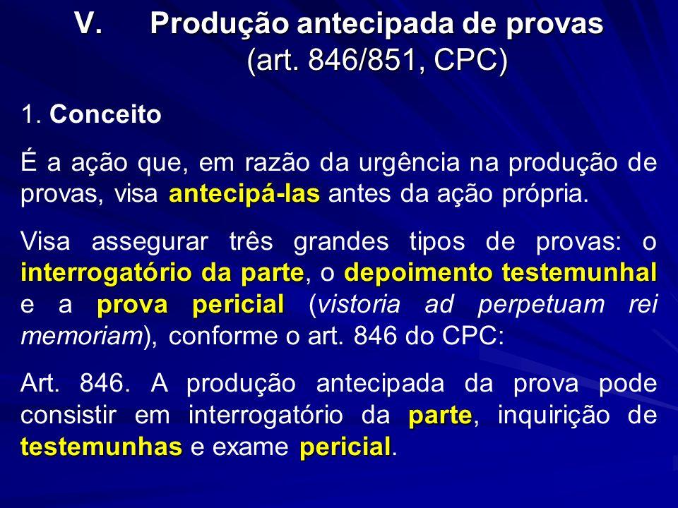 Produção antecipada de provas (art. 846/851, CPC)