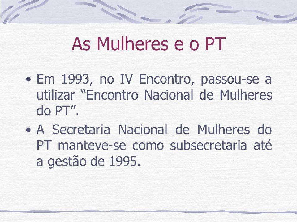 As Mulheres e o PT Em 1993, no IV Encontro, passou-se a utilizar Encontro Nacional de Mulheres do PT .