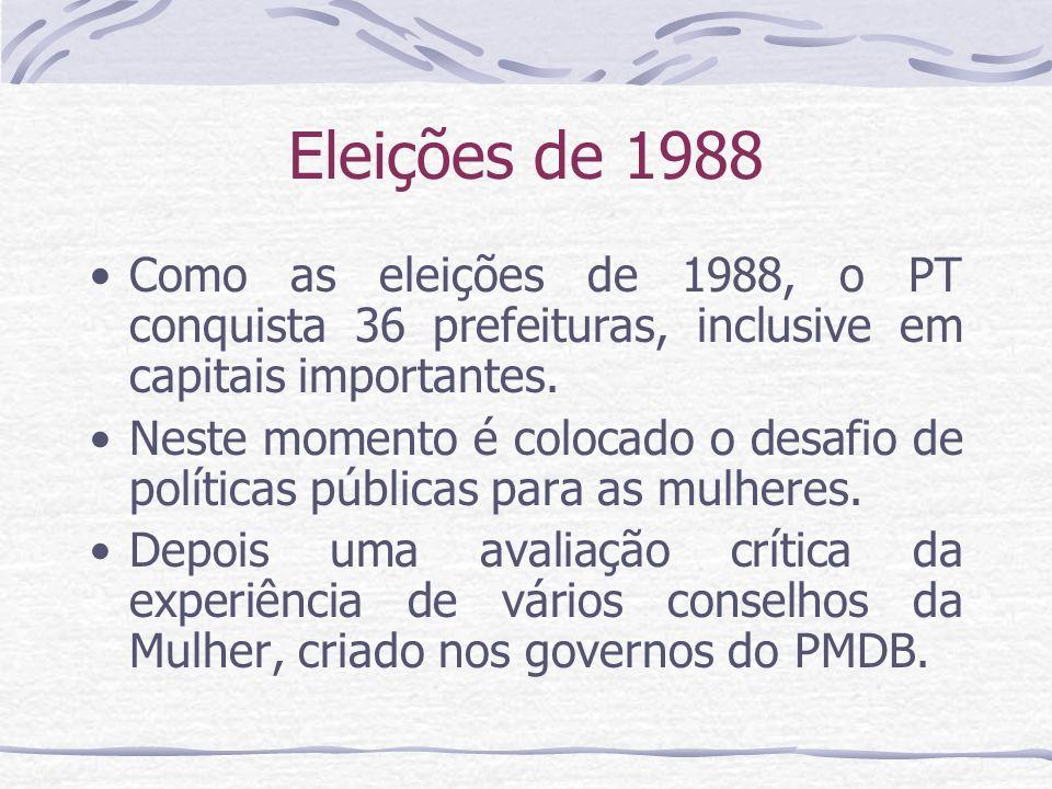 Eleições de 1988 Como as eleições de 1988, o PT conquista 36 prefeituras, inclusive em capitais importantes.