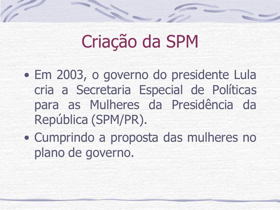 Criação da SPM Em 2003, o governo do presidente Lula cria a Secretaria Especial de Políticas para as Mulheres da Presidência da República (SPM/PR).