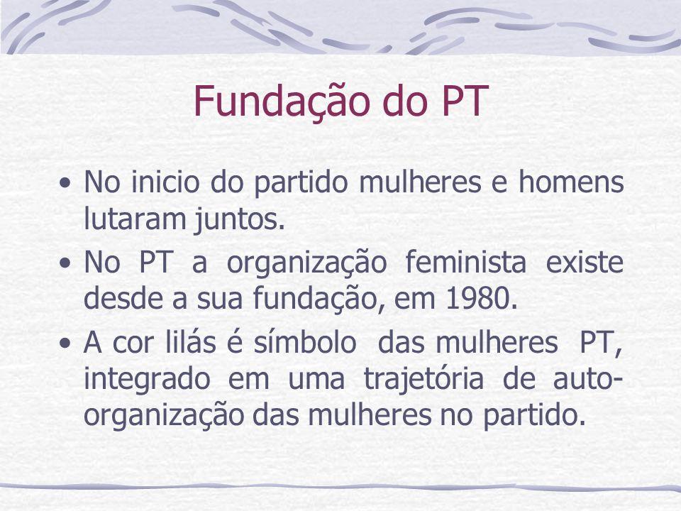 Fundação do PT No inicio do partido mulheres e homens lutaram juntos.
