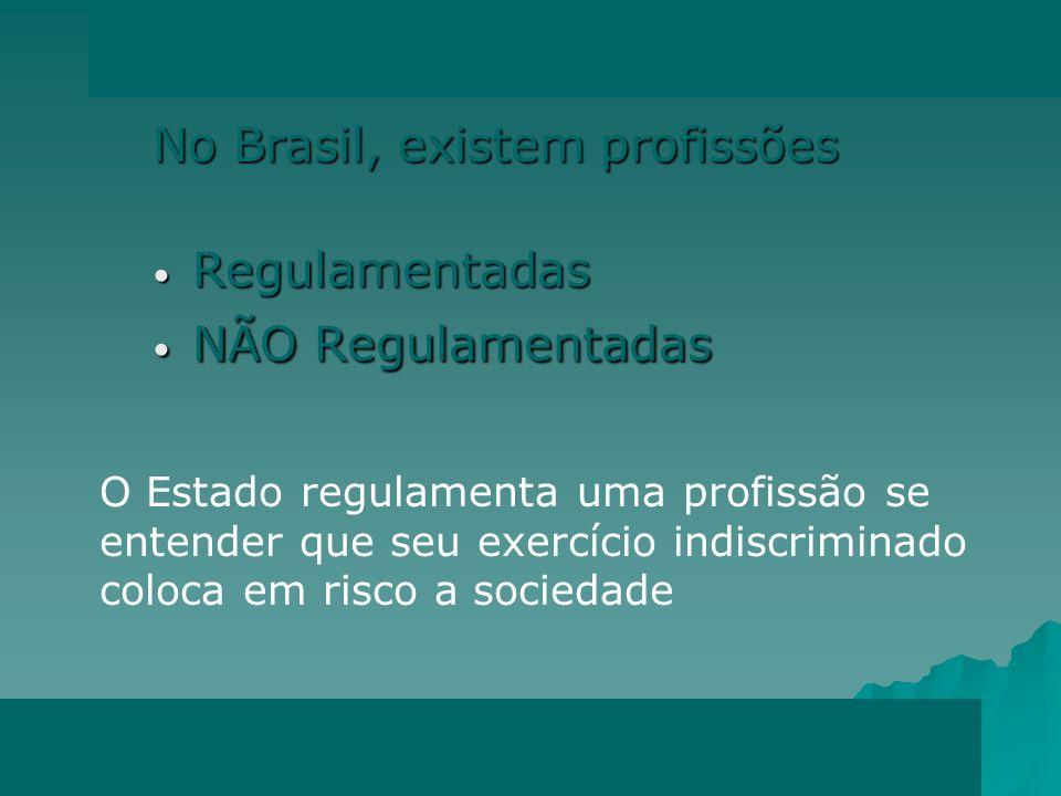 No Brasil, existem profissões Regulamentadas NÃO Regulamentadas