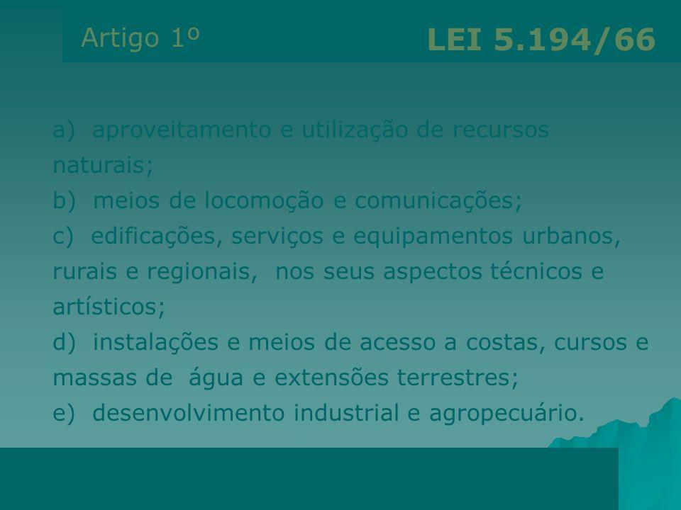 Artigo 1º LEI 5.194/66. a) aproveitamento e utilização de recursos naturais; b) meios de locomoção e comunicações;