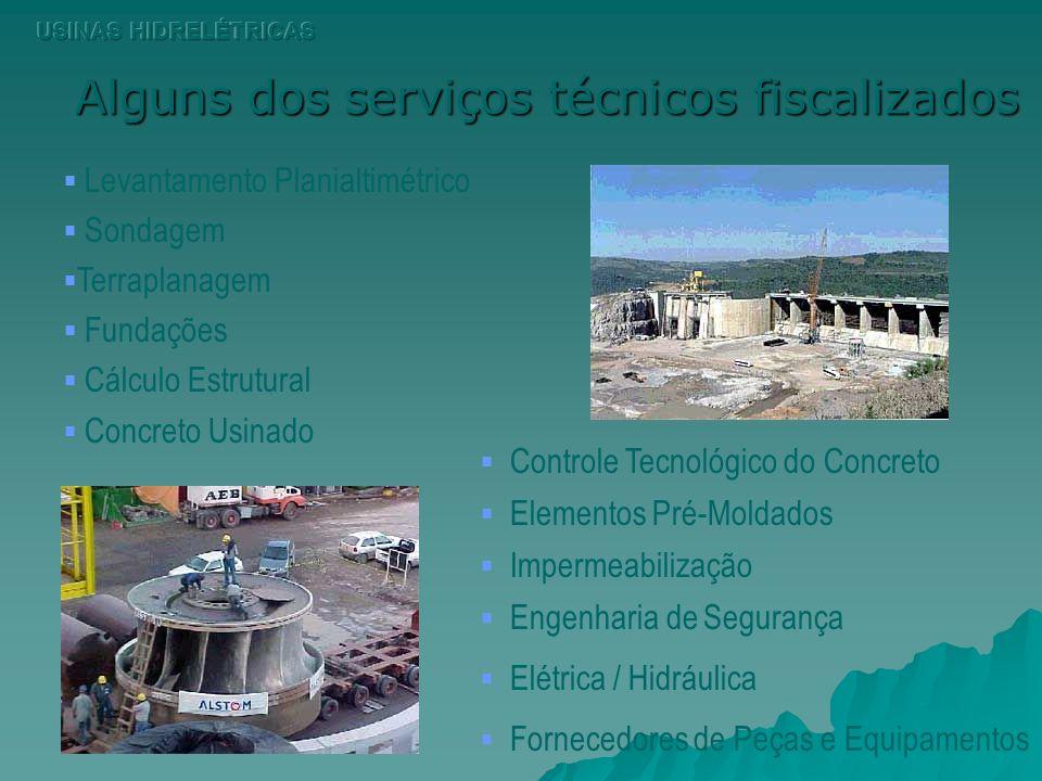 Alguns dos serviços técnicos fiscalizados