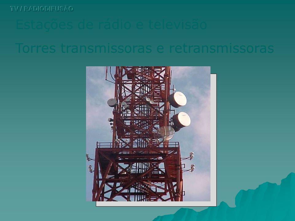 Estações de rádio e televisão Torres transmissoras e retransmissoras